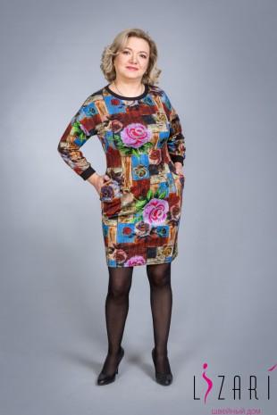 Платье трикотажное, рис. розы - Lizari