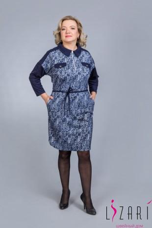 Платье-рубашка синее с отделкой - Lizari