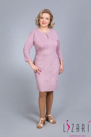 Платье трикотажное, цв. розовый с пуговкой - Lizari