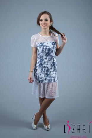 Вечернее платье бело-серый рисунок + кокетка и волан из кружевной сетки - Lizari