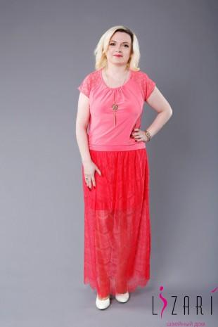 Блузка розовая, сборка + кружево - Lizari