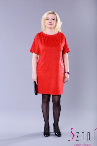 Платье замшевое с защипами - Lizari