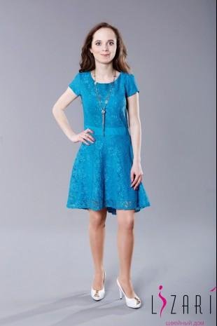 Платье бирюзовое, трикотаж + кружево - Lizari