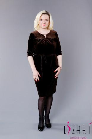 Вечернее платье бархатное, цв. коричневый - Lizari