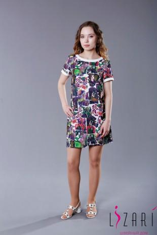 Платье с принтом, с отделкой белой кожей - Lizari