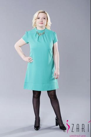Летнее платье ткань креп, зелёное, трапеция + завязки - Lizari