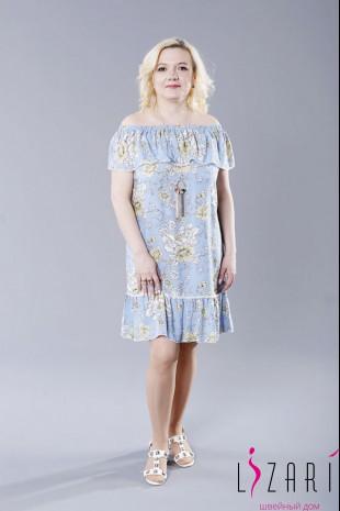 Летнее платье цвет голубой, воланчики с кружевом - Lizari