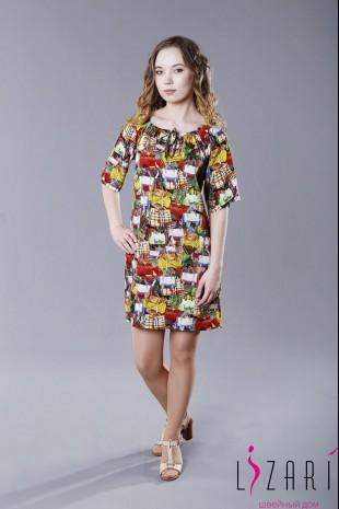 "Летнее платье вискоза, рисунок ""сумки"" - Lizari"