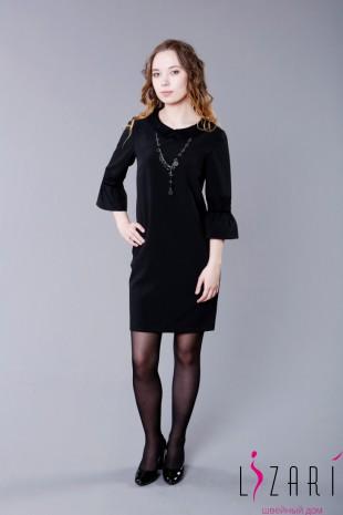Офисное платье чёрное с отделкой - Lizari