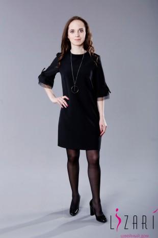Офисное платье чёрное + отделка сетка - Lizari
