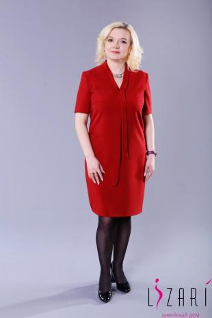 Платье тёмно красное с V-вырезом - Lizari