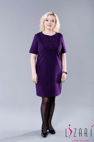Платье однотонное кокетка П238 - Lizari