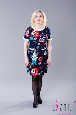 Платье трикотажное , рисунок цветы, с белой отделкой - Lizari