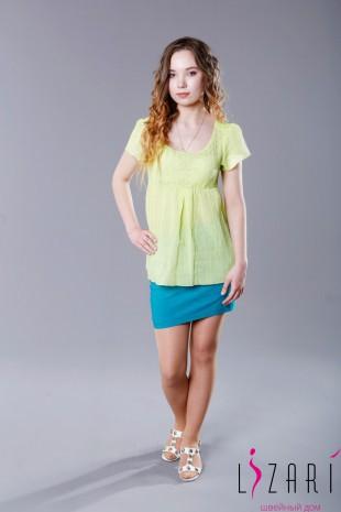 Блузка Х/Б однотонная, цвет салатовый - Lizari