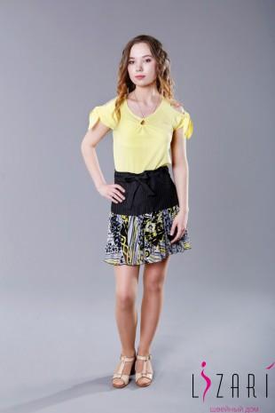 Блузка желтая капелька, рукав завязка - Lizari