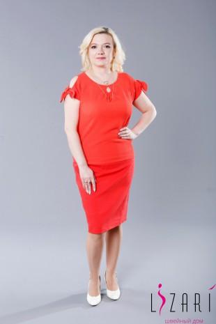 Блузка красная капелька, рукав -завязка - Lizari
